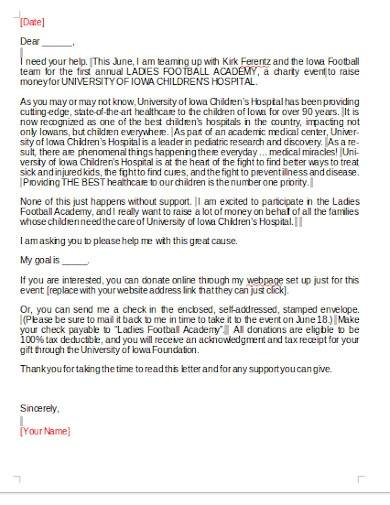 charity fundraising letter template