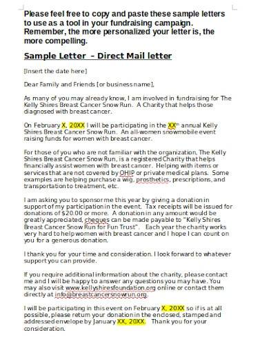 charity fundraising mail letter
