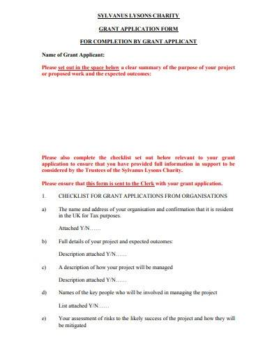 charity grant application form