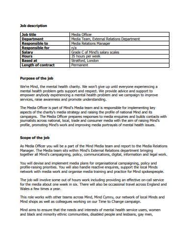 charity job description template