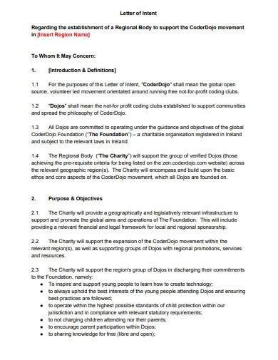 charity letter of intent template