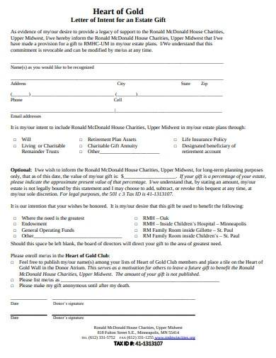 charity letter of intent for gift