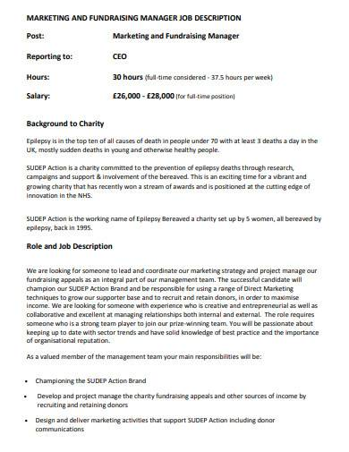 charity manager job description
