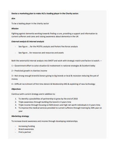 charity marketing plan template
