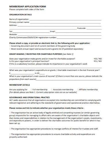 charity membership application form sample
