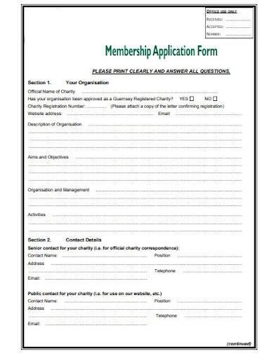 charity membership application form