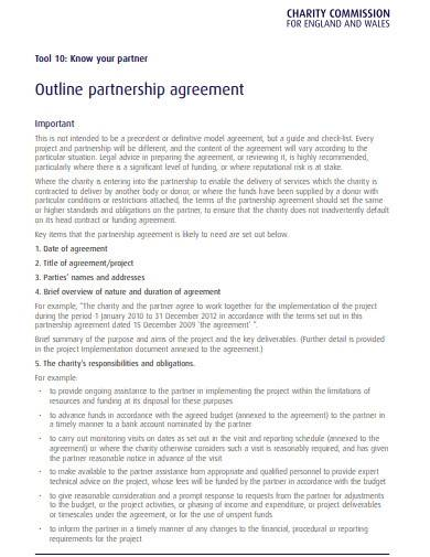charity outline partnership agreement