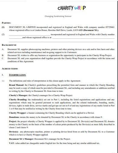 charity partnership agreement sample