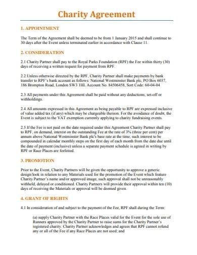 charity partnership agreement template