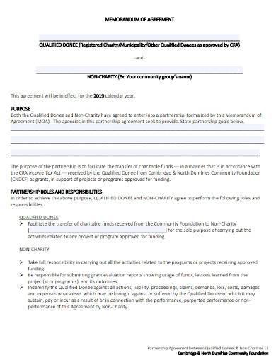 charity partnership memorandum of agreement
