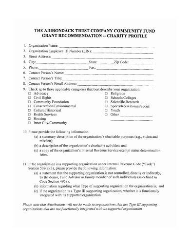 charity profile form template