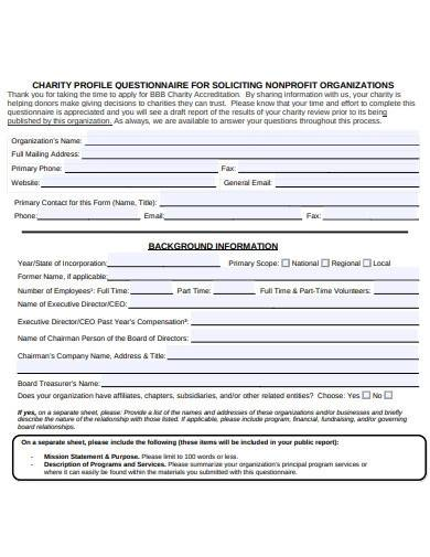 charity profile questionnaire format