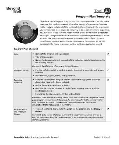 charity project program design plan
