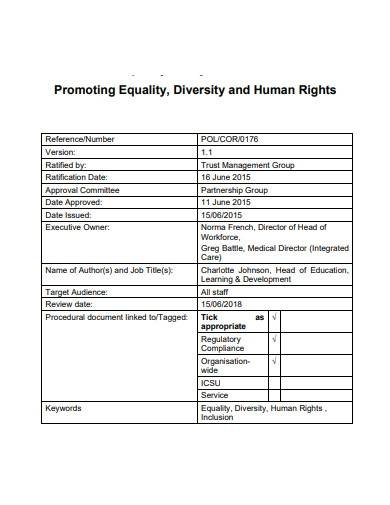 charity promoting equality sample