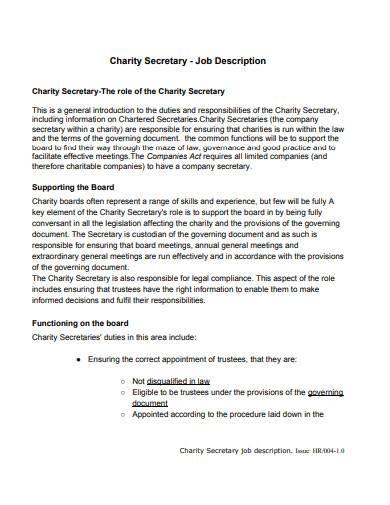 charity secretary job description template
