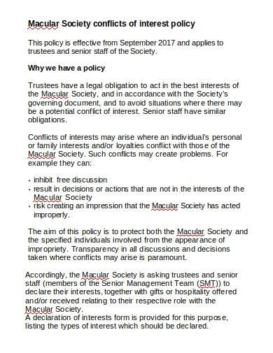 charity society conflict of interest policy