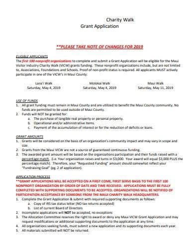 charity walk grant application sample