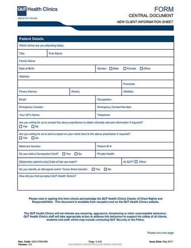 clinic client information sheet