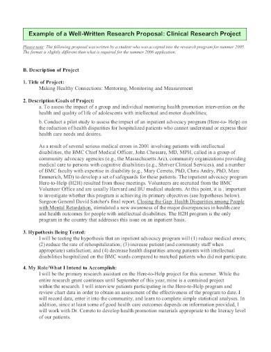 clinical research project proposal