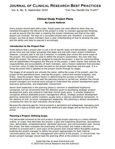 clinical studyproject plan template
