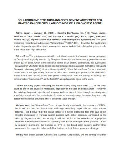 collaborative research development agreement