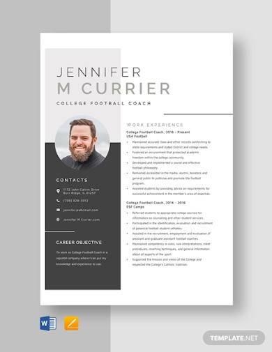 college football coach resume template