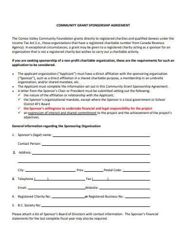 community grant sponsorship agreement