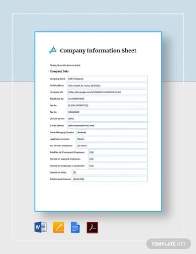 company information sheet