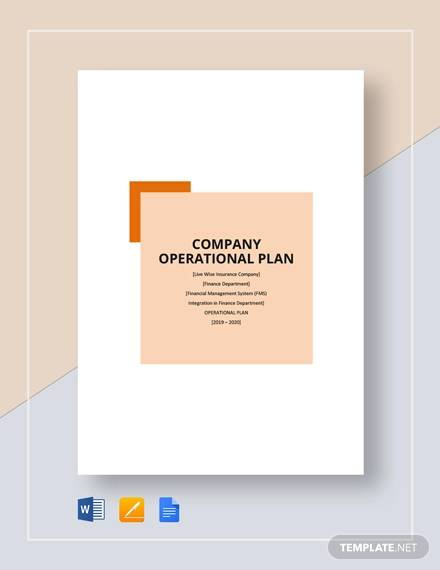 company operational plan template