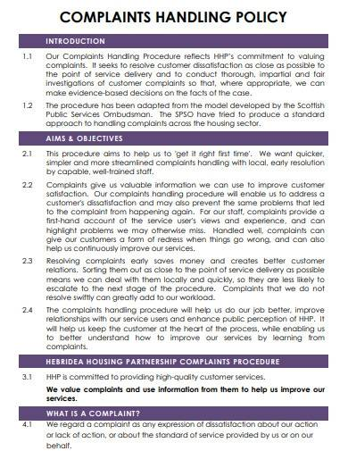 complaints handling policy template