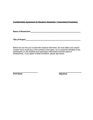confidentiality agreement for research assistant