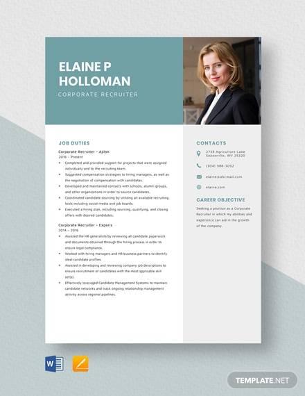 corporate recruiter resume template