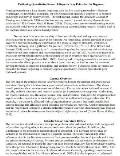 critiquing quantitative research report