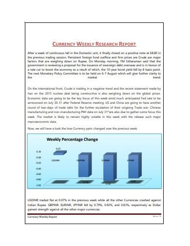 currency weekly research report