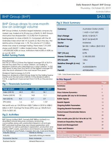 daily stock research report