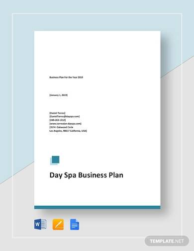 day spa business plan sample
