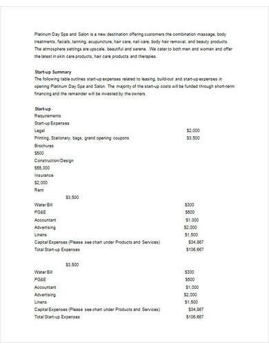 day spa and salon business plan