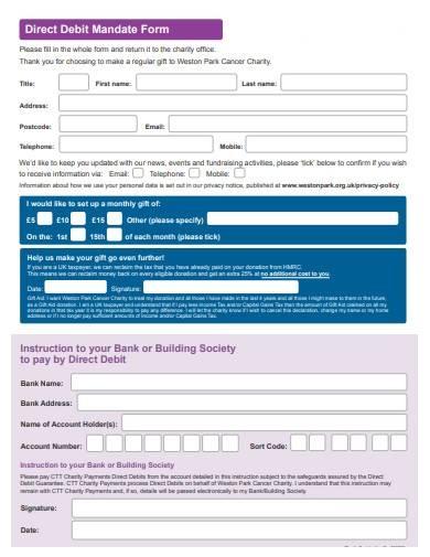direct debit mandate form format