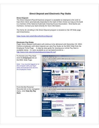 direct deposit electronic pay stub