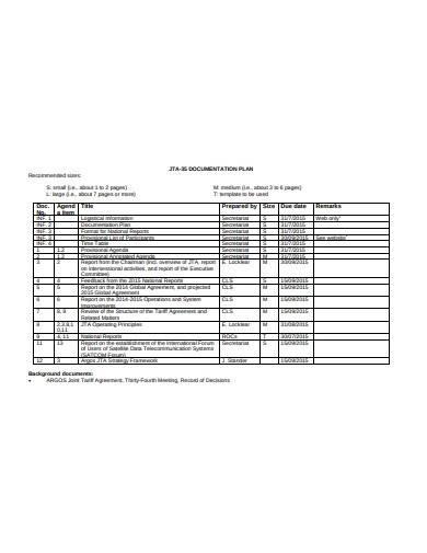 documentation plan in pdf template