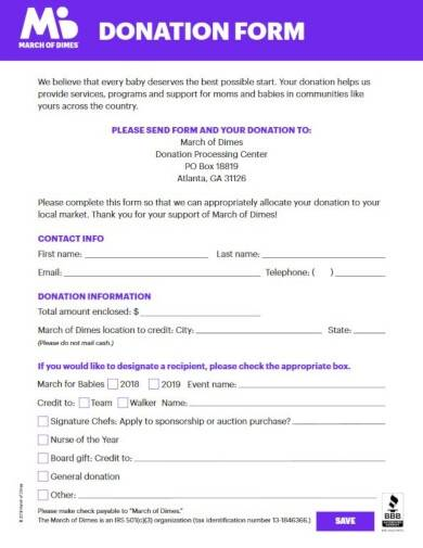 donation invoice form template
