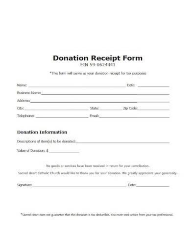 donation receipt form template
