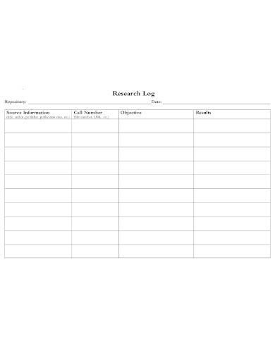 editable research log template