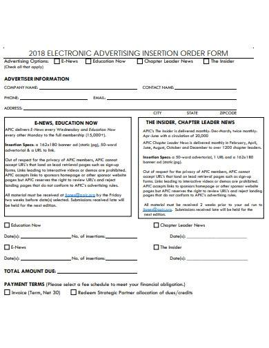 electronic advertising insertion order
