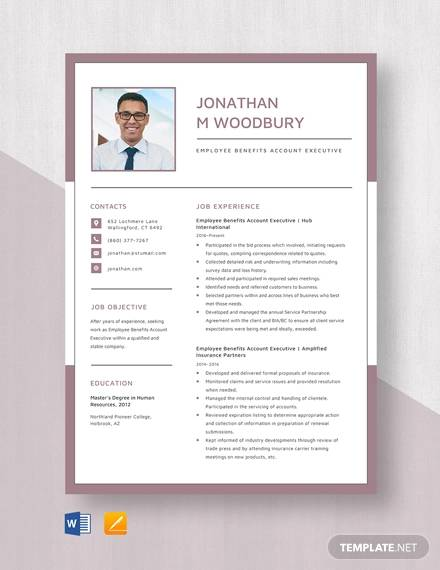 employee benefits account executive resume template
