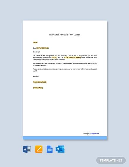 employee recognition letter template