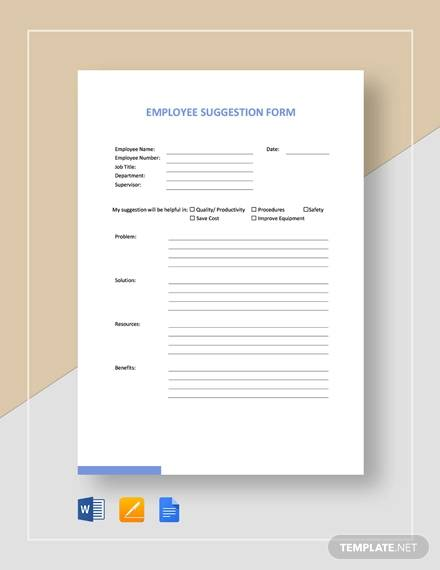 employee suggestion form template