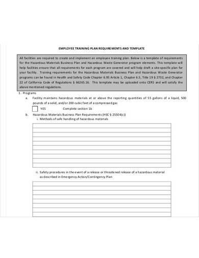 employee training plan requirement