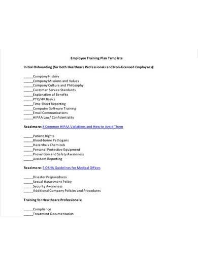 employee training plan templat