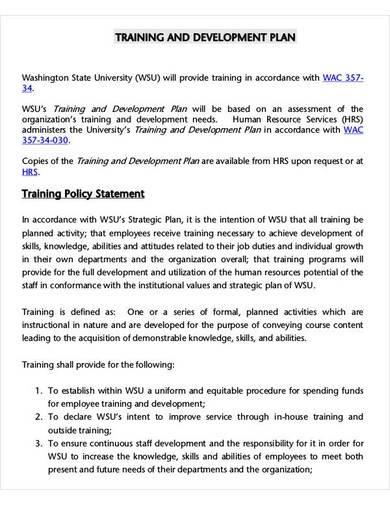 employee training and development plan